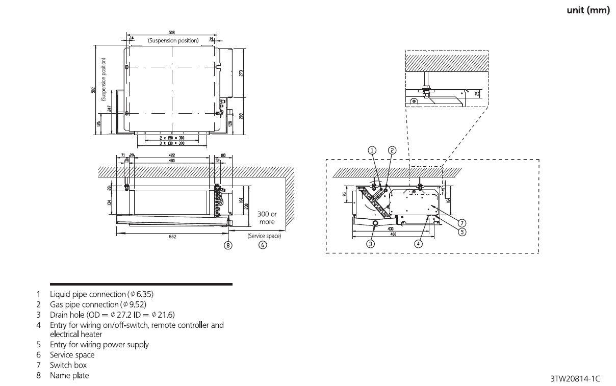 Daikin Slim Ducted Air Conditioning Unit Inverter Heat Pump Fdxs50f Energy Wiring Diagram Schematic 5kw 18000btu A 240v